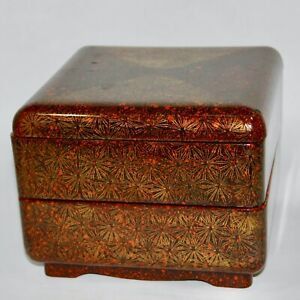 Vintage Wooden urushi Wajima Nuri Gold and silver maki-e jubako 2-tier