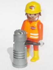 Playmobil Baustelle Bauarbeiter m. RÜTTLER Stampfer 3126 Bau Figur Strassenbau