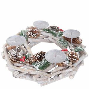 Tischkranz rund, Weihnachtsdeko Adventskranz, Holz Ø 35cm