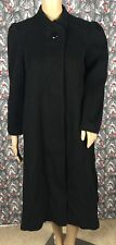 Fashion By Jill Black 100% Pure Wool Trench Coat Made in USA Size 9 Pre Owned