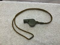 USN US NAVY MILITARY Police Whistle Olive Green Plastic with Lanyard