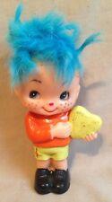"Vintage old Berries Berres Figrine Figure blue hair 4 1/2"" doll boy w/ heart toy"