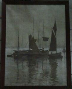 Otto Ferdinand LEIBER (1878-1958) Maritim Boote See Lithographie Kunst Grafik