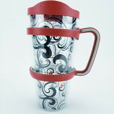 Tervis Tumbler 24 Oz Cup Black Red Cherries with Lid and Handle