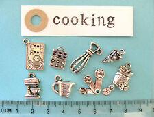 8 tibetan silver cooking charms cook book, blender, whisk, measuring jug spoons