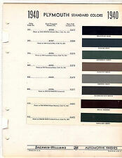 1939 1940 PLYMOUTH 39 40 COLORS PAINT CHIPS 40 SHERWIN WILLIAMS 8PC