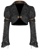 Punk Rave Womens Steampunk Cropped Jacket Black Brown Brocade Damask Bolero Goth