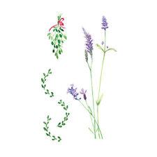 Waterproof Temporary Fake Tattoo Stickers Elegant Purple Lavender Flowers