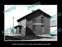 OLD LARGE HISTORIC PHOTO OF REVILLO SOUTH DAKOTA RAILROAD DEPOT STATION c1960