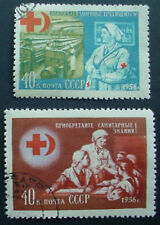 RUSSIA 1956: RED CROSS & RED CRESCENT: SET OF 2 USED STAMPS