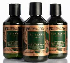 3x Ted Baker Vintage Amber Hair and Body Wash, Shower Gel for Men 250ml
