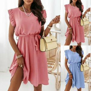 ⭐⭐⭐⭐⭐Women Summer Ruffle Frill Smock Dress Ladies Sleeveless Plain Mini Sundress