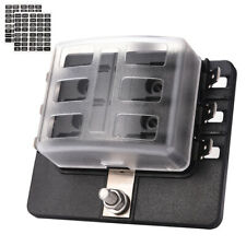 6 Way ATC/ATO Blade Fuse Block Holder Box with LED Safety Indicator PC Cover