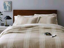 Fieldcrest Yarn Dyed Sour Cream Striped Duvet Cover Set ~ King ~ Cotton Linen