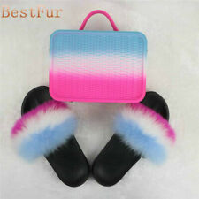 Multicolor Series Women Slides Real Fox Fur Sliders Beach Sandals Slippers shoes