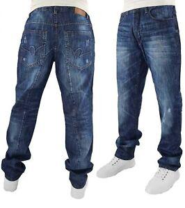 Rocawear Men's Dark Wash Double R Denim Jeans, New Hip Hop Urban Star Era G RC57