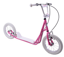 """Blossom Scooter 12"""" Large Wheel Girls Push Kick Ride On Scooter Pink Flowers"""
