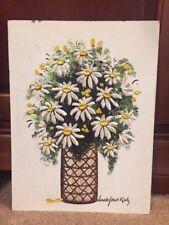 Vintage Daisies Oil Painting Noted NY Artist Carole Gerst Katz Palate Impasto