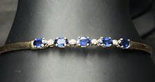 🔹🔹Bangle 5 True Blue Sapphire 4 Diamond 14k Gold Bracelet
