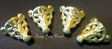 """(Lot of 4) Stamped Brass Box Feet (unfinished) 1"""" Ht  -  Filigreed"""