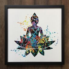 Colourful Splatter Lotus Buddha Yoga Flower Spiritual Art- Framed Art ART601