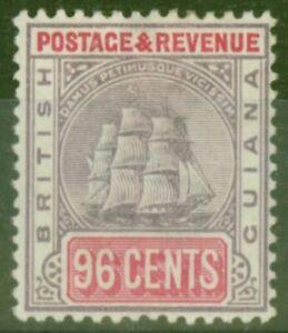 British Guiana 1889 96c Dull Purple & Carmine SG205x Wmk Reversed Fine Mtd Mint