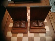 Vintage 1940s Story Book Themed Wooden Book Ends Once Upon a Time