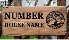 Personalised House Door Sign Tree of Life Willow Oak Wooden Name Plate Plaque