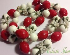 Vintage 60s Red/White w/Flowers Plastic Beaded Single Strand Long Necklace