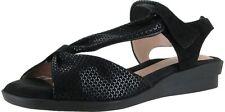 BEAUTIFEEL Womens 'Hailey' Black Shiny Scale Print Suede Sandals Sz 40