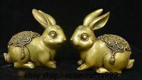 "5 ""alte China Kupfer Feng Shui Zodiac Year Rabbit Segen Glück Skulptur"