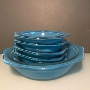 Vintage Blue Pyrex Sprayware Hexagonal 1 Glass Serving Bowl & 5 Dessert Bowl Set