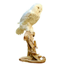 Standing Faux Snow Owl Professional Reproduction Taxidermy Animal Statue Gift