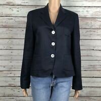 LRL Lauren Ralph Lauren Linen Suit Blazer Jacket Size 8 Navy Blue Tailored Fit