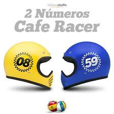 Stickers moto numeros adhesivos personalizados casco moto Cafe Racer vinilo 2 pz