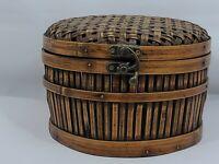 "VTG Bamboo/Wicker 6.25"" Round Storage Basket Box Hinged Lid"