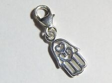 Hamsa Hand Clip on Bracelet Charm - Sterling Silver 925 - Protection Amulet