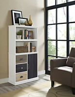 Frame Contemporary Office Furniture White and Oak Drawer Units//Bookcase