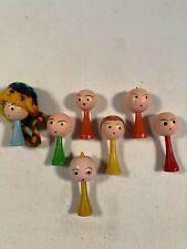 "Lot of 7 Vintage Miniature Wooden Peg Dolls 1-1/2"""