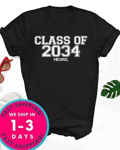 Custom Graduate shirt Class of 2034, 2035... Front and Back unisex adult size