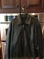 Andrew Marc  Black 100% Leather Zip Up Reversible Light Jacket Size M