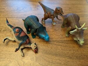 Dino Riders lot: Monoclonius, Styracosaurus, Deinonychus, Saurolophus w/ 1 leg