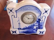 ANTIQUE DELFT BLUE & WHITE PORCELAIN CLOCK HOLLAND/ DUTCH THEME France AS FOUND