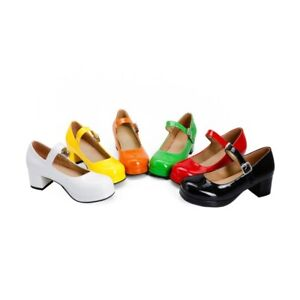 Ladies Mary Janes Shoes Synthetic Leather Platform Mid Heels Pumps AU Size S279