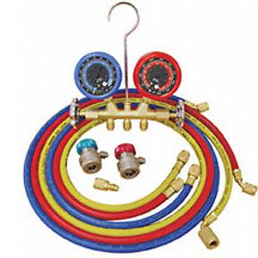 ATD #3694  Deluxe Dual Brass A/C Manifold Gauge Set