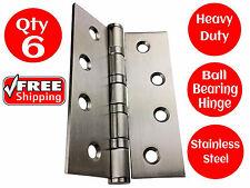 6 X STAINLESS STEEL DOOR HINGES 304 grade 100 x 75 BUTT HINGE BALL BEARING 4BB