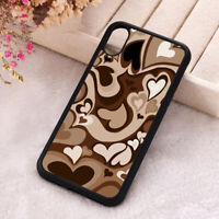 Brown Heart Swirl Phone Cover Hippie Love iPhone X 11 12 Mini Pro Max Soft Case