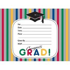 Graduation Stripes Postcard Invitations 8 Pack