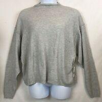 FREE PEOPLE Sweater Large Gray Drop Sleeve Alpaca Wool Nylon Blend NEW #1294