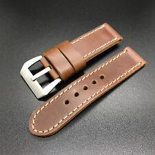 24mmReddish Brown Short Leather Band Strap for Panerai Luminor Marina Watch